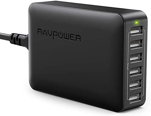 RAVPower 60W 12A 6-Port USB Charger Desktop Charging Station with iSmart, Compatible with iPhone Xs XS Max XR X 8 7 P...
