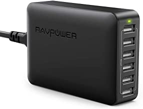 USB Charger RAVPower 60W 12A 6-Port Desktop USB Charging Station with iSmart Multiple..