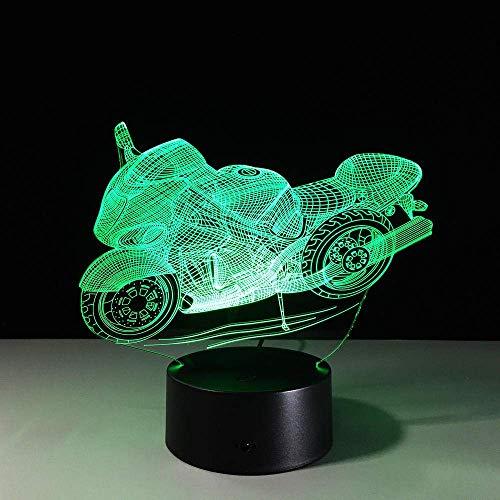 3D-Illusionslampe LED-Nachtlicht 1-teiliges Design Motorradform Home Decoration 7 Farbwechselatmosphäre USB wiederaufladbar Beste Geburtstags-Weihnachtsgeschenke für Kinder