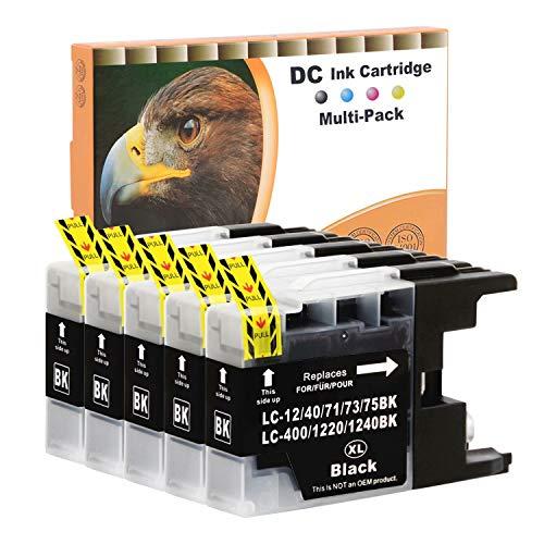 DundC 5x 20ml BLACK Druckerpatronen Kompatibel für Brother LC-1220 LC-1240 BK XL für Brother MFC-J280W MFC-J425W MFC-J435W MFC-J5910DW MFC-J625DW MFC-J6510DW MFC-J6710DW MFC-J6910DW MFC-J825DW MFCJ835DW