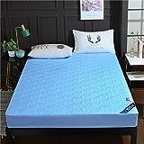 JRDTYS Protector de colchón - cubrecolchón transpirableFunda Protectora de Hotel de algodón Acolchado Impermeable Lijado-Azul_150 * 200 * Alto 30