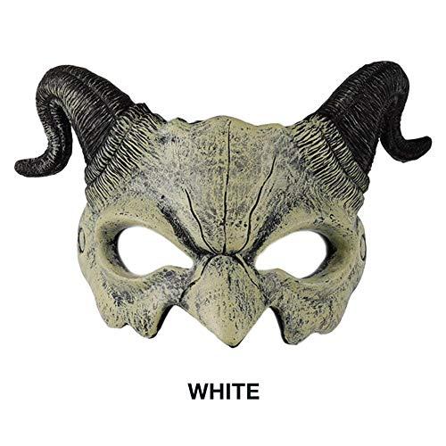 Brillie Demon máscara de Media Cara para Hombre de Cabra, máscara de Animal, Cuerno de Espuma de Poliuretano 3D Realista Demon Goat Mitad Cara para Fiesta de Halloween (Rojo y Blanco)