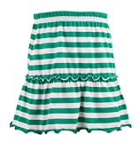 Kid Nation Girls Soft Cotton Ruffle Scooter Skirt with Under Pants 4-12 Years Green/White Stripes S