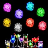 12 Pcs Simulation Ice Cube Light Up Ice Cube Party Led Ice Cube for Drinks Colorful Liquid Sensor Lights Cubes for Party Decorative Multicolor Set Pack of 12 Pack (Rose)