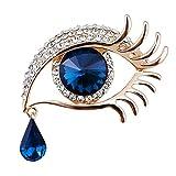 Gaoominy Broche de Diamante de Globo Ocular lagrimas de Angel Joya Pin de Cristal de pestanas Accesorios Clip de Chal de Bufandas (Dorado/Azul)