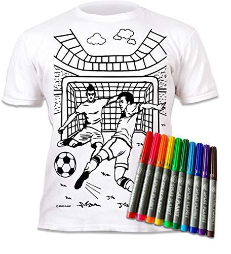 Splat Planet Camiseta FÚTBOL para niños. con impresión para Pintar y Colorear. Incluye 10 Colores mágicos Lavables. Cumpleaños Infantil (7-8 años)