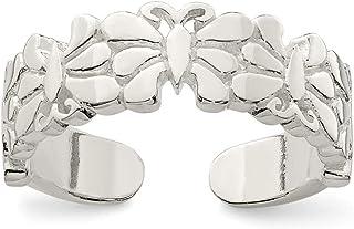 Diamond2Deal - Anello da piede in argento Sterling con farfalle lucide