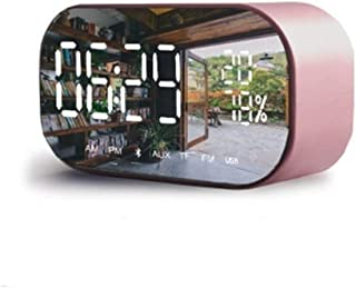 Alarm Clock Wireless Speaker Wireless Mini Phone Small Audio Large Illuminated Display in The Bedroom Office (Color : Gre...