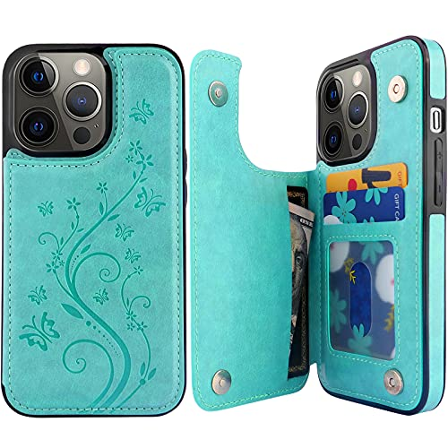 """Pretocter for iPhone 13 Pro Wallet Case with Card Holder, Butterfly Flower Embossed Faux Leather Kickstand Card Slots Case, Handmade Shockproof Protective Slim Soft Flip Phone Case 2021 6.1"""" Green"""