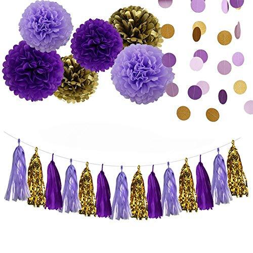 Erosion Lila Lavendel Glitter Gold Baby Dusche Seidenpapier Pom Pom Papier Quaste Garland ersten Geburtstag Dekorationen lila  Brautdusche Dekorationen Schnee oder Meer Theme Party-Dekor