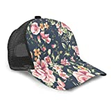 Vintage Hat Floral Print Baseball Cap Adjustable Unisex Style Headwear Mesh Baseball Hat