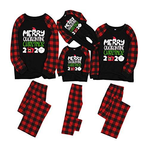 HEWUQI Family Christmas Matching Pajamas Sets for Kids & Adult 2020 Christmas Quarantine Souvenir Plaid Sleepwear Parent-Child