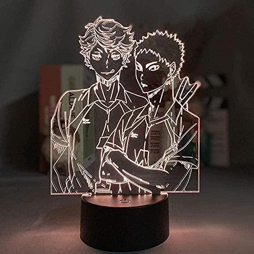 GMYXSW Lámpara LED de ilusión 3D, luz nocturna, anime ataque a gigante S decoración de la habitación comedor mesa regalos de cumpleaños para niños y niñas