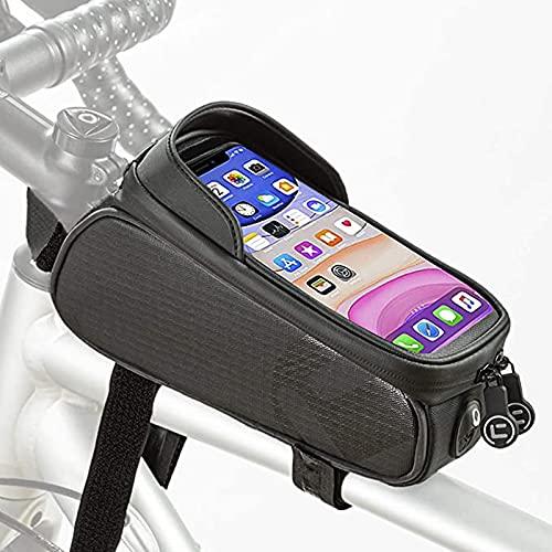FREEDOL Bolsa Cuadro Bicicleta, Bolsa Impermeable Bicicleta, Visera Solar Pantalla Táctil Tubo Superior Frontal (Orificio Auriculares), Adecuada Teléfonos Menos 6.5 Pulgadas,Negro