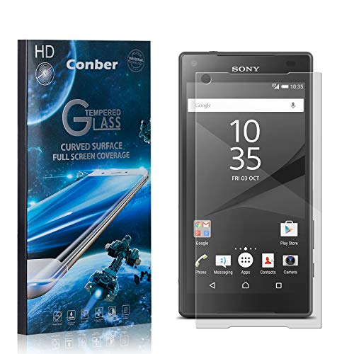 Conber (3 Pack) Screen Protector for Sony Xperia Z5 Compact, [Scratch-Resistant][Anti-Shatter][Case Friendly] Premium Tempered Glass Screen Protector for Sony Xperia Z5 Compact