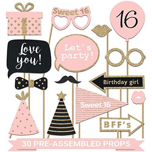 Fully Assembled Sweet 16 Birthday Photo Booth Props - Set of 30 - Pink & Gold Selfie Signs - 16th Party Supplies & Decorations - Cute 16th Bday Designs with Real Glitter - Did we mention no DIY?