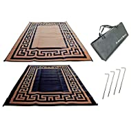 Redwood Mats Patio Mat 9' X 12' Greek Key - Brown/Black Rv Mat Reversible Outdoor Rug Camping Indoor (with Ground Stakes & Carry Bag)