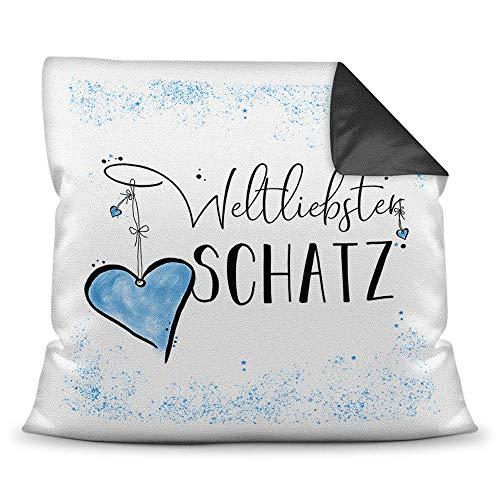 Familie-Kissen mit Spruch für den Weltliebsten Schatz - Kissenbezug inklusive Kissen/Verwandte/Geschenk-Idee/Liebling/Kinder/Farbkissen Rückseite Schwarz
