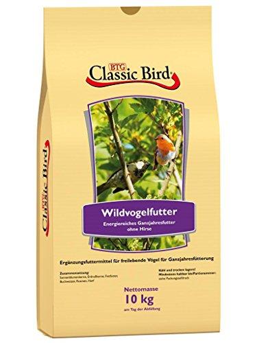 CLASSIC BIRD Vogelfutter Wildvogelfutter ohne Hirse 10 kg | Vogelfutter Erdnusskerne für Wildvögel | Vogelfutter Sonnenblumenkerne | Vogelfutter Buchweizen | Gartenvögel | ganzjahres Vogelfutter