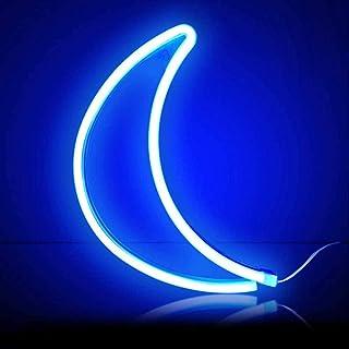 XIYUNTE lune Néon Enseignes lumineuses Décoration murale, Batterie et USB alimenté bleu lune Néons Applique murale Intérie...