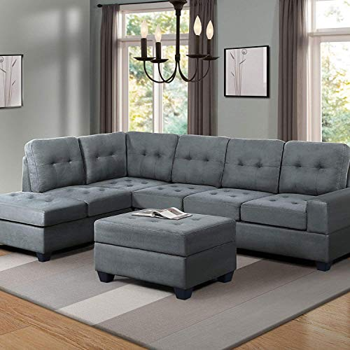 Sectional Sofa Sets, 3-seat Sofa Couches with Reversible Chaise Lounge and Storage Ottoman for Living Room Furniture (Greyish)