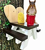 Squirrel Feeder for Outside Picnic Table with Corn Cob Holder and Peanut Bowl - Funny Gift for Outdoors as Squirrel House for Chipmunk Lovers and Wildlife Animal Feeders