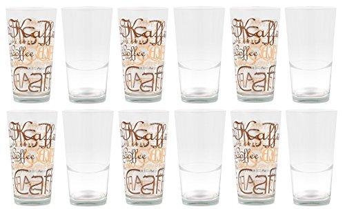 Set van 12 Mix Latte Macchiato glas 39cl stapelbaar met decoratie/zonder decoratie