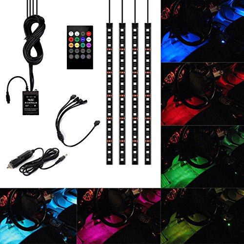 Xcellent Global 4 Strisce da 30cm con 18 LED SMD RGB per Interni Auto, Impermeabili, Fosforescenti, con Attivazione Remota + Caricabatterie Auto, DC 12V Voltaggio, M-AT010