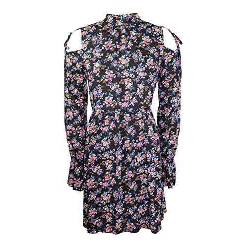 Aakaa Womens Floral Cold Shoulder Tunic Black Floral Large