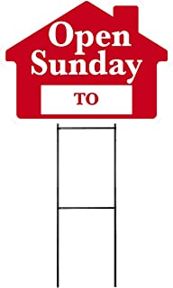 OPEN SUNDAY Sign with Area for Time - Red House Shape Corrugated Sign INCLUDES 24