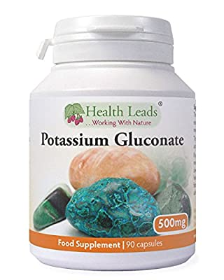 Potassium Gluconate 500mg x 90 capsules (100% Additive Free Supplements) from Health Leads UK