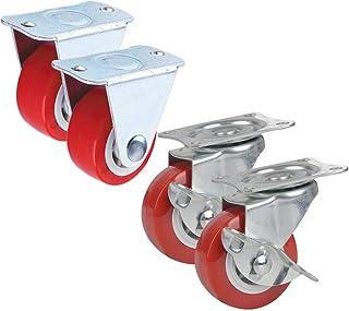WQF Draaibare wielen voor meubels rubberen wielen, 50mm (2in) /38mm (1.5in) in diameter gegalvaniseerd staal De ultieme la...