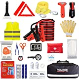 Car Emergency Kit,Auto Roadside Assistance Safety Bag with Jumper Cable for Truck Automobile Vehicle with First Aid Kit,Essential Universal Road Tool Set with Blanket Snow Scraper