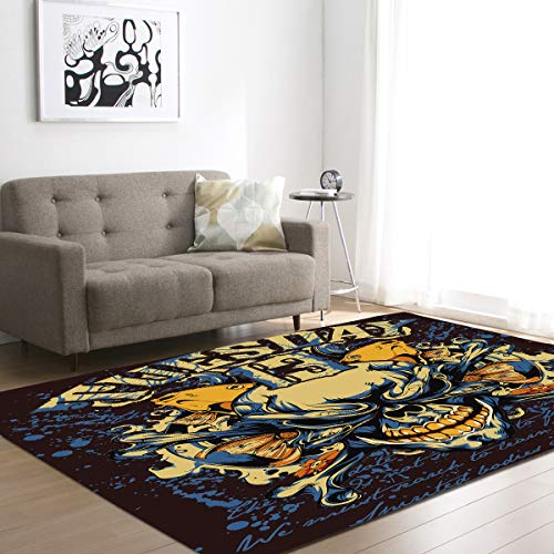 WIVION 3D-Schädel-Teppich Rutschfester Teppich Yoga-Matte Superweiche Große Kinderteppiche Bodenmatte Für Wohnzimmer Wohnheim Zimmer Halle Esstisch Wohnkultur,D,121.9 * 160.0cm