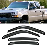 VioGi New 4pcs for Chevy/GMC/Cadillac Crew Cab SUV Dark Smoke Out-Channel/Outside Mount Style Wind Sun Rain Guard Vent Shade Deflector Window Visors