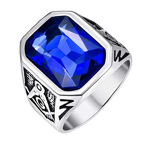 Vakki Ringe Herrenring mit Blauem Kristallstein, Edelstahl, Verlobungsringe, Antik-Finish, Größe 62 (19.7)