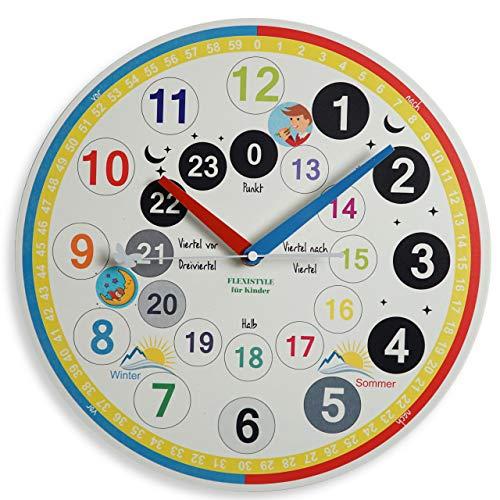 FLEXISTYLE Kinderwanduhr Kinder Wanduhr mit lautlosem Uhrenwerk 30cm Ablesen der Uhrzeit Lernen