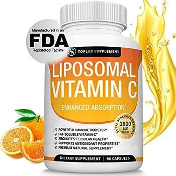Liposomal Vitamin C 1800mg Pure Natural Supplement - High Absorption Fat Soluble VIT C Immune Support Collagen Booster Immunity Defense & Antioxidant Ascorbic Acid Anti-Aging Skin Vegan Non-GMO