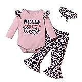Verve Jelly Traje de niña recién nacida con estampado de letras y volantes Body de manga larga + Pantalones de campana de leopardo + Diadema Conjunto de 3 piezas Rosa 6-9 meses
