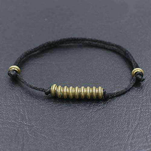 XKMY Pulsera de cuentas de oro antiguo, pulsera de hilo rojo tibetano para mujeres, hombres, parejas, amuleto de Buda, pulseras de regalo de la suerte para mujeres (color de metal: negro)