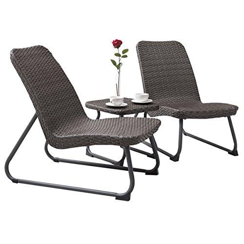 COSTWAY 3tlg. Rattanmöbel, Gartenmöbel Polyrattan, Sitzgruppe mit Eisenrahmen, Sitzgarnitur mit ergonomischer Rückenlehne, für Garten, Balkon, grau