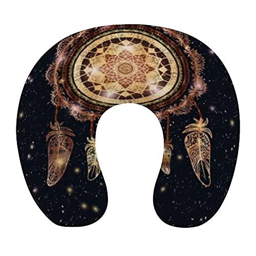 CIKYOWAY Almohada Viaje,Atrapasueños talismán Indio Nativo Americano con Mandala mágico y Plumas,Espuma de Memoria cojín de Cuello,Almohadas de Acampada,Soporte de Cuello para Viaje Coche