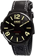 U-boatau-Boat capsoil DLC Mens Analog Swiss Quartz Watch with Leather Bracelet 8108