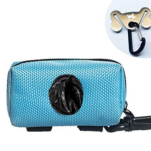 Dog Poop Bag Holder for Leash Attachment - Waste Bag Dispenser for Leash - Fits Any Dog Leash - Portable Set with 1 Hand Free Holder Metal Carrier - Durable,Blue