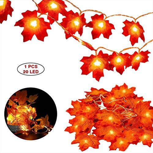 Herfstlichtsnoer, 3 m, 20 LED's, herfstbladeren, slingers, Maple Leaf, herfst, decoratie, feeënbladen, waterdicht, voor herfst, esdoorn, voor buitendecoratie van Thanksgiving en kerstverlichting