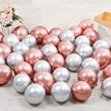 100pcs 5inch Tiny Rose Gold Silver Chrome Metallic Latex Balloons for Birthday Party Bridal Baby Shower Engagement Wedding Party Decorations (Rose Gold Silver)