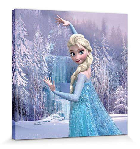 1art1 Die Eiskönigin - ELSA Verzauberter Winterwald Bilder Leinwand-Bild Auf Keilrahmen | XXL-Wandbild Poster Kunstdruck Als Leinwandbild 30 x 30 cm
