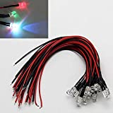 LAOMAO 1 Pack (20 Bulbs) 3mm 12V DC 7 different color flashing LED Pre-Wired Round Top Bulb Lamp For DIY Car Boat Toys Flashing Parties