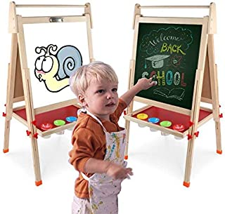 Wooden Kids Easel Art Easel with Paper Roll Double-Sided Whiteboard & Chalkboard Standing Easel with Bonus Magnetics, Numbers and Other Accessories for Kids,Tollders, Boys and Girls (49inch)