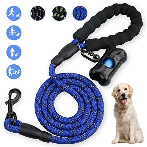 OMEW Hundeline 5 FT Starke Trainingsleine 100% Nylon mit bequemen Gepolsterten Griff 1,5m für Schutz in Nachts Aller Größer Hunde-Blau